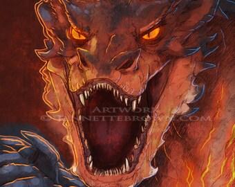 Le Hobbit Dragon Smaug Portrait Fan Art affiches