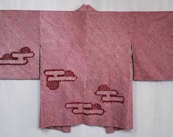 Women's  vintage, shibori Haori kimono jacket - deep red and white shibori with egasumi cloud pattern