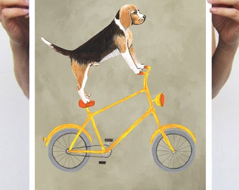 Beagle painting, print from original painting by Coco de Paris: Beagle on bicycle