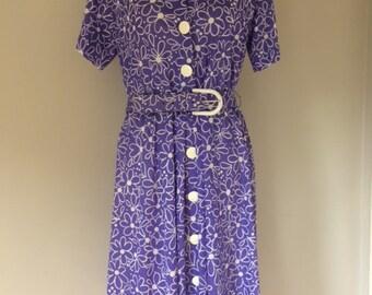 1970s Purple Flower Power Dress
