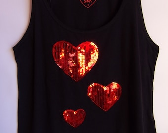 Vintage Women's Top/Black Sleeveless Top/ Valentine's Hearts/Shiny Red Hearts/ Cotton Top/With Sequins/ Condition Excellent