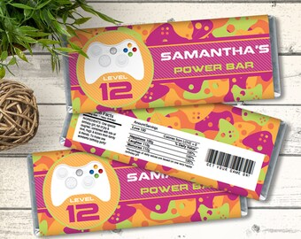 Video Game Candy Bar Labels/Wrappers - Video Game Party Favor, Video Game Birthday, Pink   Editable Text - INSTANT Download Printable PDF