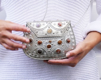 Silver stone ethnic clutch bag - vintage inspired