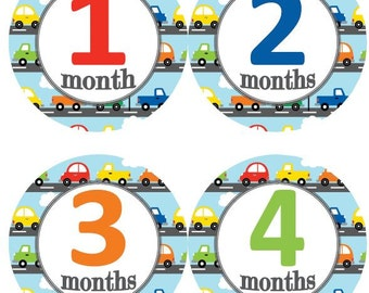 Baby Monthly Milestone Growth Stickers Boy Cars Transportation Traffic Theme MS590 Baby Boy Shower Gift Baby Boy Photo Prop