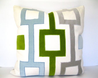 Velvet and linen geometric applique pillow in gray, aqua, and green - modern throw pillow.