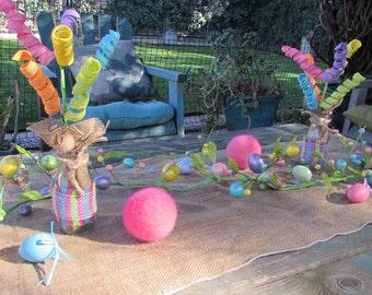 Easter Table Decor Easter Centerpiece Spring Centerpiece Spring Table Decor Easter Egg Table Decor Pink Green Blue Egg Burlap Centerpiece