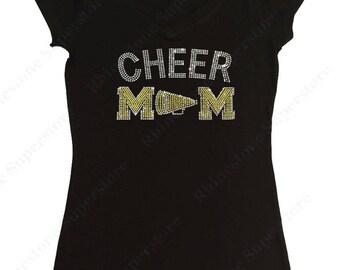 "Women's Rhinestone T-Shirt "" Yellow Cheer Mom with Megaphone "" in S, M, L, 1x, 2x, 3x"