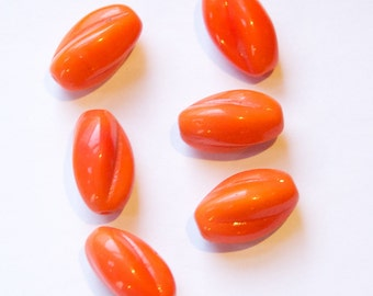 Vintage Opaque Orange Glass Twist Beads Germany 20mm grm019B