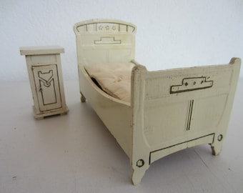 Vintage/ Antique German Dollhouse Bed And Nightstand Possibly Gottschalk