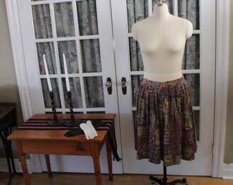 1980's Pleated Flared Skirt with Abstract Pattern