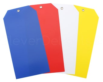 """100 Plastic Tags 6.25"""" x 3.125"""" - Tear-proof and Waterproof - Large Tags - Blue Red White Yellow - Inventory Asset ID Price Tags"""