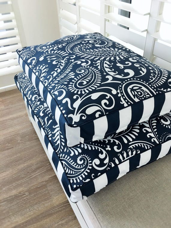 'Coco' dog bed with insert - navy and white floral - SMALL MEDIUM LARGE