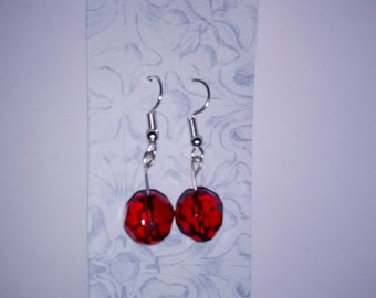 Earrings Red beaded sterling silver