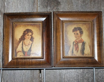 Midcentury Prints of Peasant Boy and Girl Processed on Wood by Nostra
