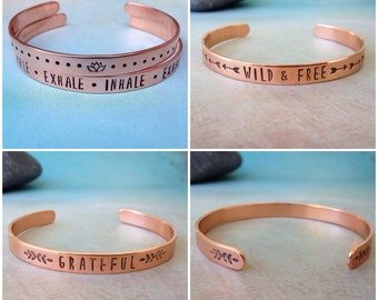 Custom Quote Bracelet, Custom Copper Bracelet Cuff, Personalized Bracelet, Secret Message Bracelet, Hidden Message Bracelet, Red Fern Studio