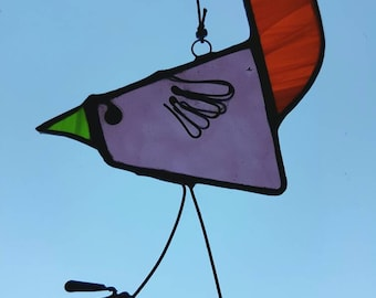 Stained glass crazy bird mobile.