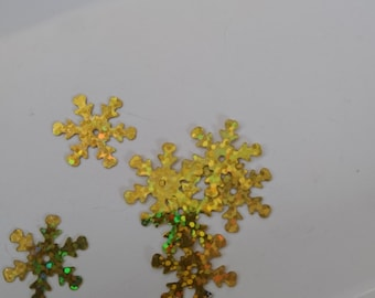 Set of 50 snowflakes gold holographic sequins