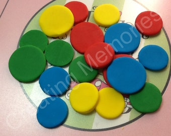 CONFETTI For your Cakes. Edible Fondant Circles to Decorate your Cake, Cupcakes, cookies or Cake Pops - You choose the colors