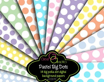 Printable Polka Dot Paper Digital Polka Dot Paper Pastel Polka Dot Background Paper Baby Shower Invitation Paper - Instant Download