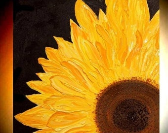 """SALE Original Contemporary Sunflower  painting Abstract Original Modern 24"""" palette knife impasto oil painting by Nicolette Vaughan Horner"""