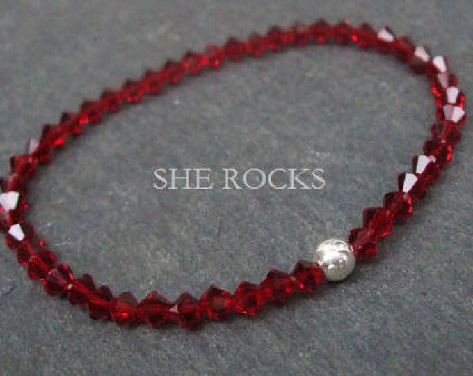 Red Swarovski crystal stretch bracelet Sterling Silver or 14K Gold Fill bead - July birthstone jewellery gift