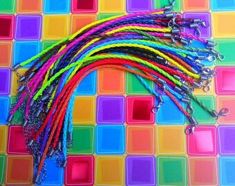 20 3mm Braided Leather Cord Bracelets Mixed Colors