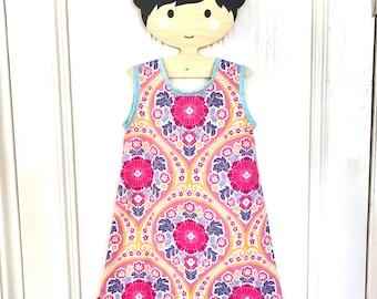 Girls pink dress, girls dress, girls summer dress, girls pinafore, girls a-line dress, girls party dress, girls everyday dress, age2-3