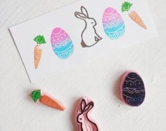 Easter stamp set, bunny rubber stamp, egg rubber stamp, carrot rubber stamp, Spring stamp set.