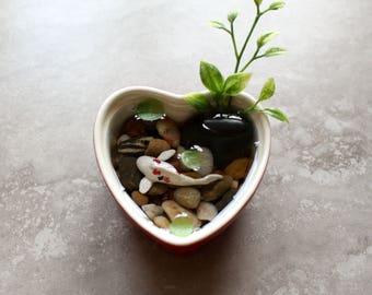 Miniature Koi Pond in Red Heart Bowl / Terrarium / Fairy Garden Accessory / Tropical Home Decor