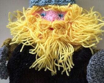 handmade viking Puppetng,Handdoll, puppet viking, hand pupet knitted, puppets