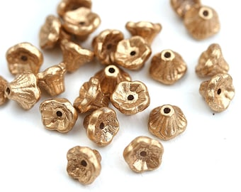 7x5mm Golden Flower Cups beads, Czech glass gold beads, small bell beads - 25Pc - 2956