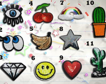 Sequin Patches, Iron on Patches,Patches, Patch, Set Patches