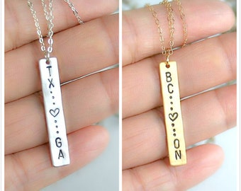 State bar necklace, Two states or provinces, State necklace with heart, Best friend state bar Necklace, Silver vertical bar pendant