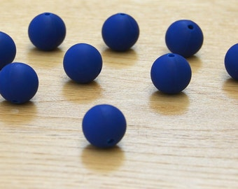 Navy 15mm Round Silicone beads, 10 pack