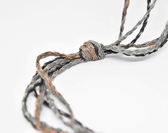 Lariat Tie Necklace in Handwoven Grey and  Dark Beige  -  Triple Strand - multiple style options.  Ready to ship as seen.