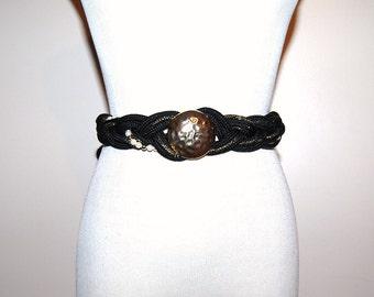 Vintage Belt Black Wrap with Pearls