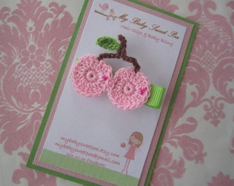 Girl hair clips - cherry hair clips - girl barrettes