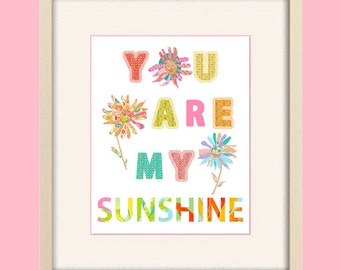 you are my sunshine nursery wall art baby girl nursery decor kids wall art, childrens art, unique baby gift, baby wall art girl nursery art