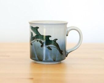 Vintage Dolphin Mug • Ceramic Coffee Cup • Beach House Kitchen • Porpoise Ocean Stoneware • Nautical Home Decor • 1970s 70s 1980s 80s