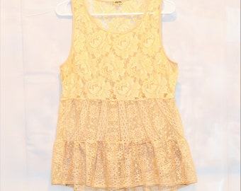 Cute And Dainty Lily White Sleeveless Cream Colored Floral Design Lace Top Size Large Women's Clothing ChooseFlavor