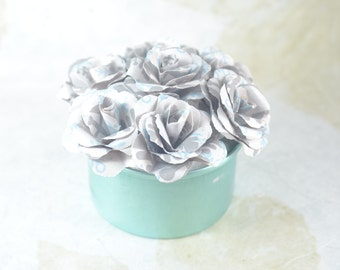 Small Upcycled PAPER FLOWERS Arrangement - Forever Flowers - Aqua Can - Grey White Aqua Paper Flowers
