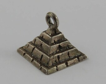 Pyramid Sterling Silver Vintage Charm For Bracelet