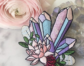 Crystal Patch - Iron On Embroidered Patch - Pastel Aura Crystals & Pink Lotus