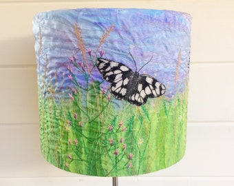 Butterflies and Wildflowers lampshade ~ butterfly gifts -  wildflower gifts - handmade lampshade ~ 20cm round lampshade ~ home decor