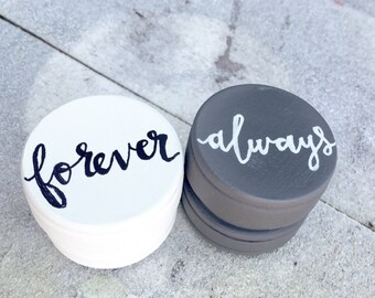 Wedding Ring Boxes, Always and Forever Ring Box, Personalized Wedding Ring Box, Set of 2