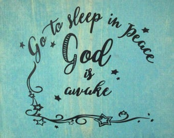 Sleep in Peace God is Awake Digital Download SVG Cut File, Vinyl Cutting Design, Inspirational Quote, for Digital Cutting Machines