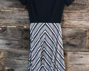 Vintage Julie Miller Polyester Dress Black Chevron Stripe 1970's