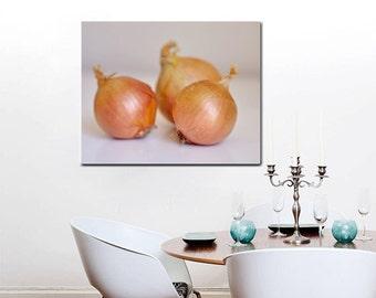 Kitchen canvas art vegetable art, large wall art kitchen decor dining room wall art canvas, golden onion, restaurant wall art, culinary gift