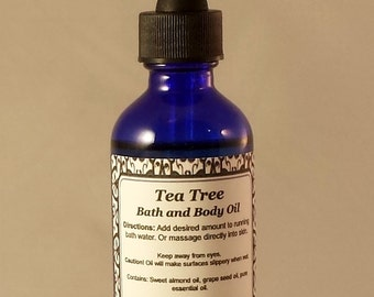 Bath Oil, Body Oil, Massage Oil, Tea Tree, Essential Oils, Natural Skin Care, Aromatherapy, Handcrafted, Mystic Creations