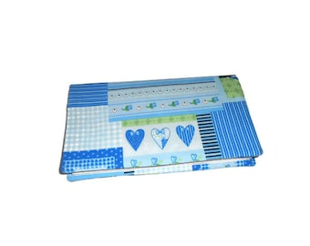Checkbook blue hearts fabric